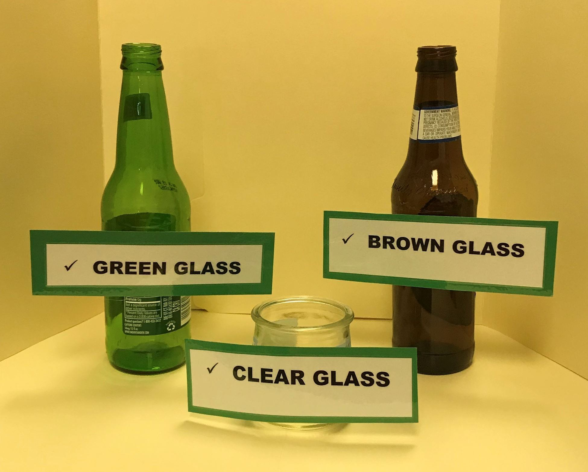 Clear Green  Brown Glass