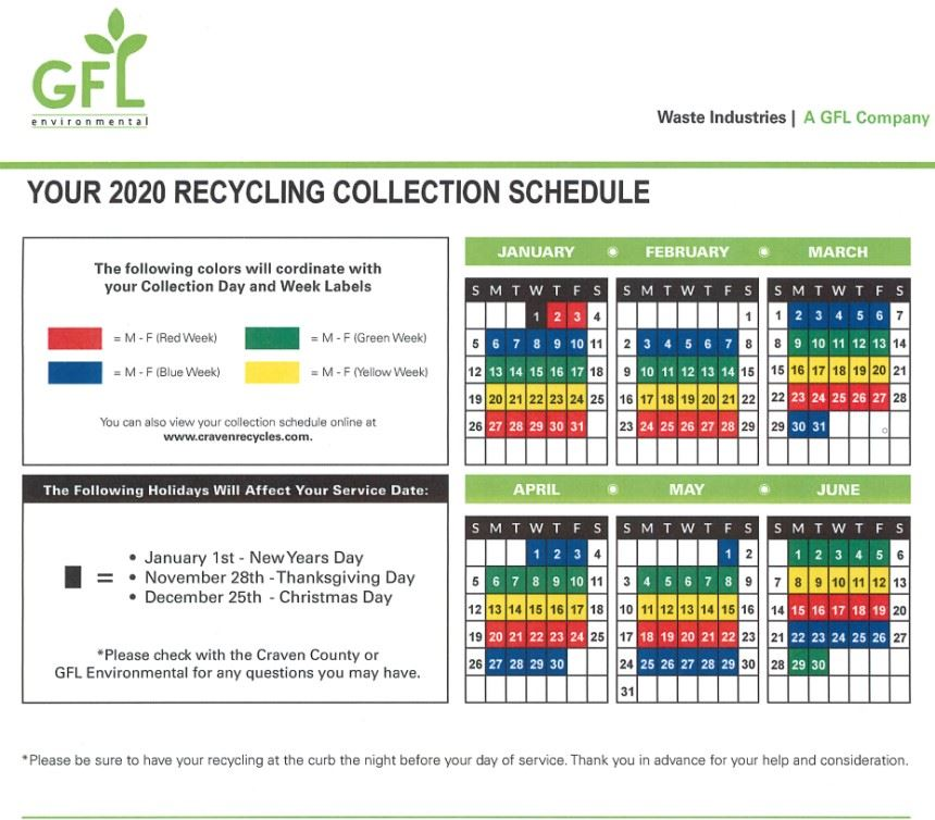 New Recycling Schedule Craven County
