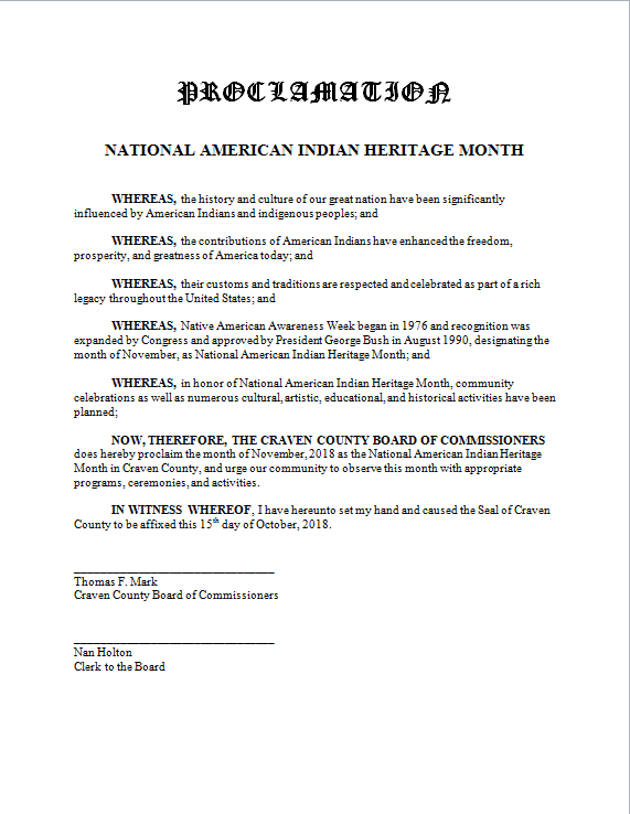 Craven County Proclamation National American Indian Heritage Month 2019